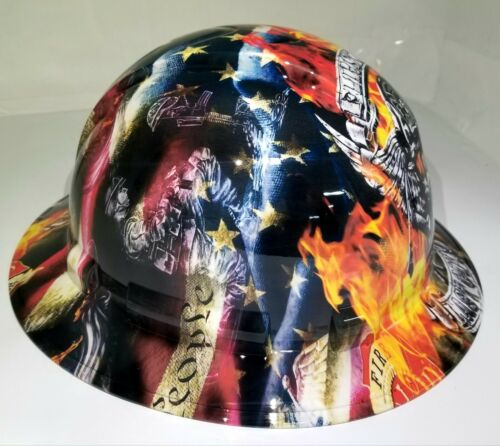 NEW FULL BRIM Hard Hat custom hydro dipped in , FIREFIGHTER FIRST IN , LAST OUT 1