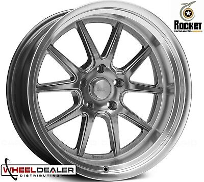 """18x8-18x11"""" ROCKET RACING ATTACK GRAY FOR PRO TOURING MINI TUBBED GM CAR 5x4.75"""""""