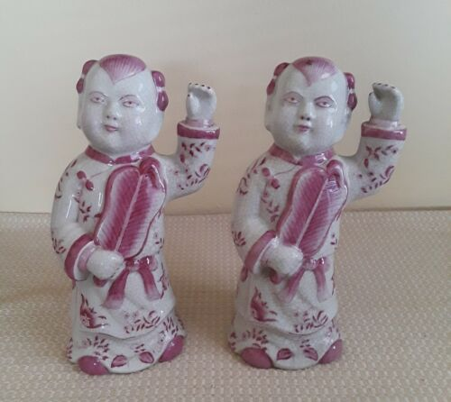A Pair Chinese Qing Dunesty Famille Rose Procelain Statues, Marked