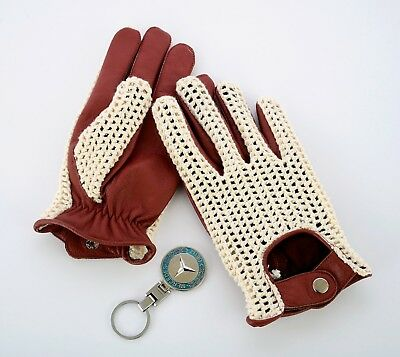 NEW MEN'S DRIVING GLOVES CHAUFFEUR LEATHER DRESS FASHION CLASSIC VINTAGE COGNAC ()