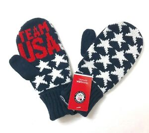 c0dd09a6 TEAM USA OLYMPIC MITTENS knit winter glove men/women american flag stars  pattern