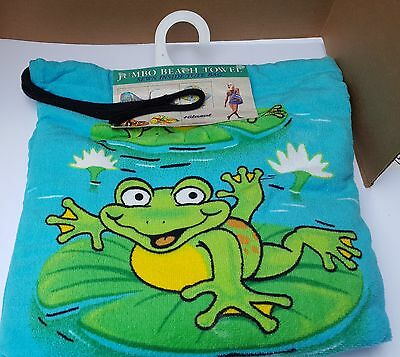 New Hilasal Jumbo Beach Pool Towel Sewn Inside Tote Bag Happy Frogs 100% Cotton