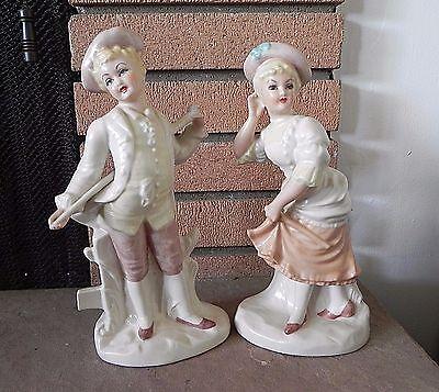 German Bisque VICTORIAN LADIES STATUES - 2 Vintage Woman Figurines