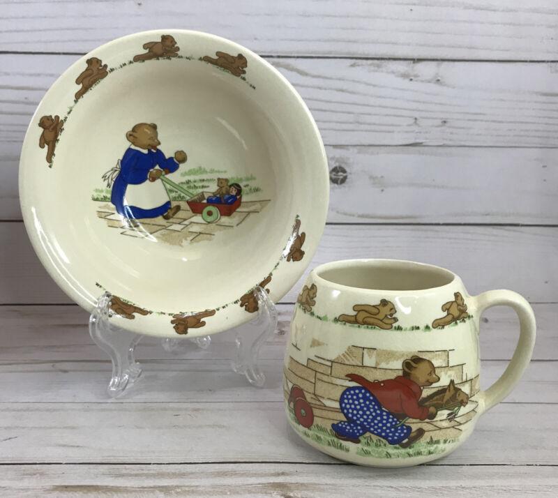 Crown Windsor England Running Teddy Bear Kids Bowl & Cup/Mug 2pc Set