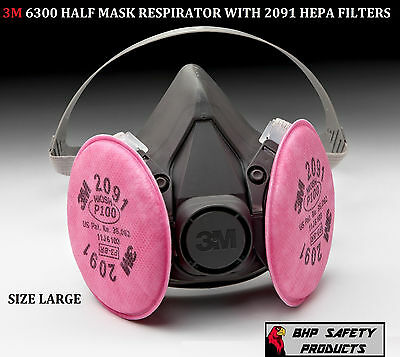 3M 6300 HALF MASK RESPIRATOR WITH P100 FILTER CARTRIDGES SIZE LARGE