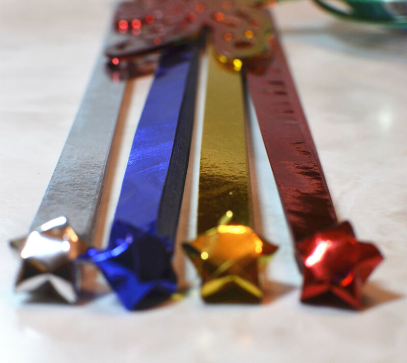 Metallic  Shiny Lucky Star Folding Origami Paper,Choose Color US SELLER!