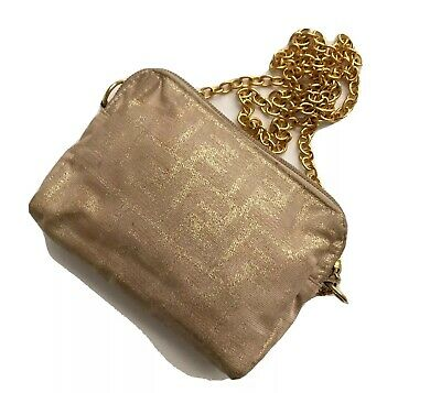 Fendi Zucca Logo Metallic Mini Chain Bag Canvas Crossbody Vintage RARE Spellout