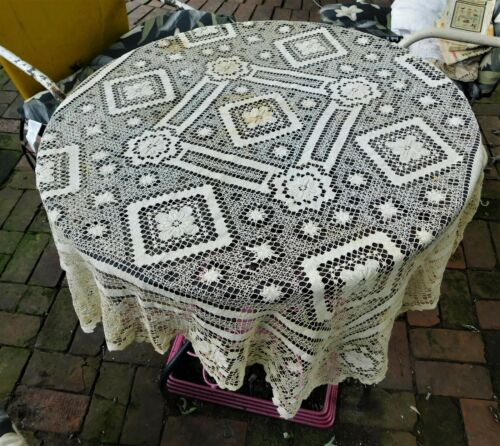ANTIQUE HANDMADE FILET CROCHET TABLECLOTH 49 by 51.5    #1