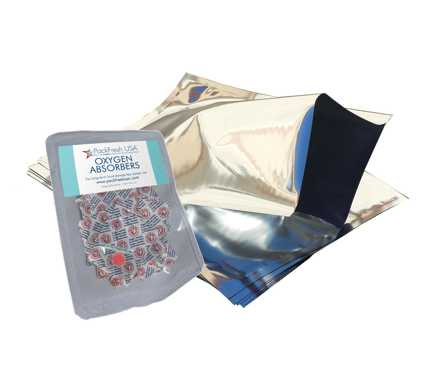 1 Gallon Mylar Foil Bags +  500cc Oxygen Absorbers PackFres
