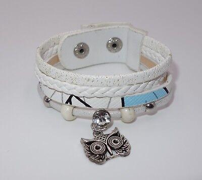 A385 - Wickelarmband - NEU - Weiß Eule Uhu Tier Strass Armband Mädchen Geschenk