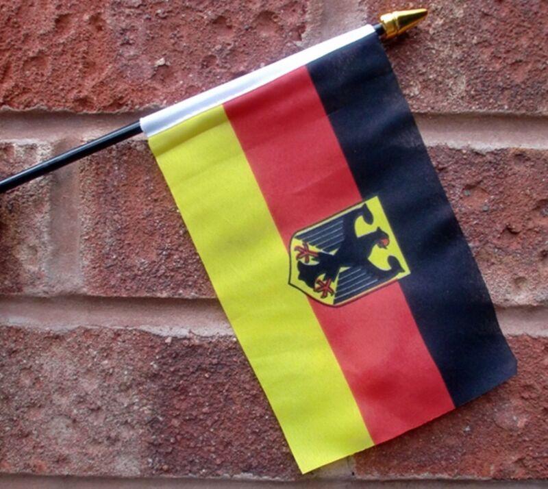 "GERMANY EAGLE SMALL HAND WAVING FLAG 6""X4"" flags"