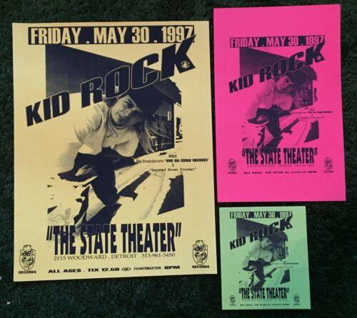 Rare VINTAGE 1997 KID ROCK Original Flyer Lot! Detroit State Theater