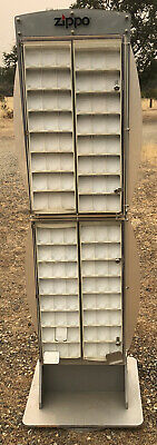 Vintage Zippo Display Case Rotating Holds 192 Lighters 75 Tall Needs Re-keyed