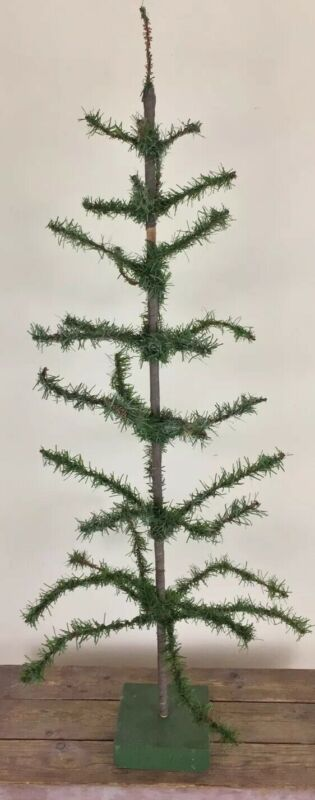 "Vintage Artificial Christmas Tree Wire Paper Plastic Hand Made 41"" Tall Maine"