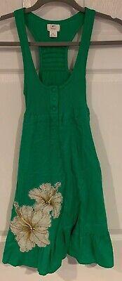 Free People Women's Dress Emerald Green  Cotton Racerback Dress Button Detail XS