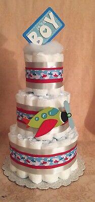 3 Tier Diaper Cake Airplane Little Aviator It's A Boy!!! Baby Shower Centerpiece