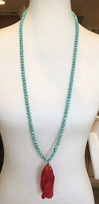 New Auth Chan Luu Faceted Turquoise Red Tassel Long Necklace Chan Luu Turquoise Necklace