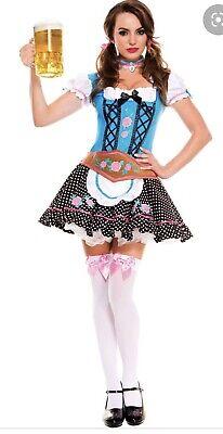Gretchen Costume Halloween (German Gretchen Womens Oktoberfest Halloween Costume Dress Blue Polka Dot)