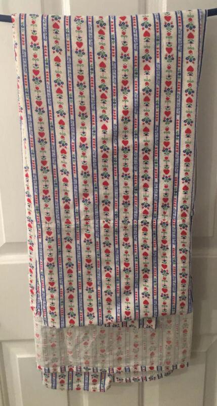 "Lanz of Salzburg Hearts Tyrolean Print Flannel Lap Blanket/Wrap 44"" x 88"" EUC"