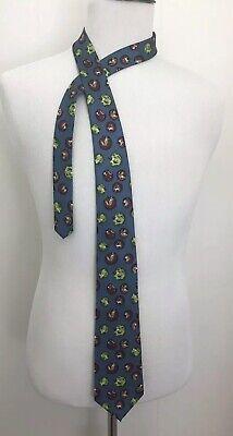 Men's Green & Red Apples Fruit School Classroom Teacher 100% Silk Neck Tie Blue