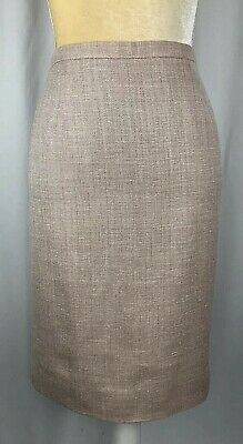 Brooks Brothers Skirt Pencil 6 Straight Silk Wool Herringbone Tweed Career Pink Herringbone Silk Skirt