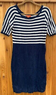 Christopher Fischer Women Blue White Stripe Cotton Sweater Dress Size Small EUC