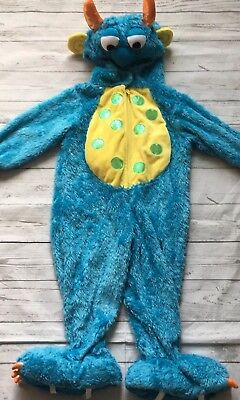 Monster Bug Halloween Costume SZ 2T Blue Plush Toddler Cosplay Zip Front Party (2t Monster Costume)