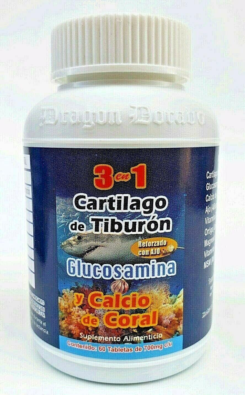 3 en 1 CARTILAGO TIBURON GLUCOSAMINA CALCIO CORAL REFORZADO + AJO FREE SHIPPING 1