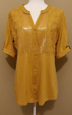Yellow Sequin Top (NEW Style & Co Sequin Tunic Top Mustard Yellow Size)