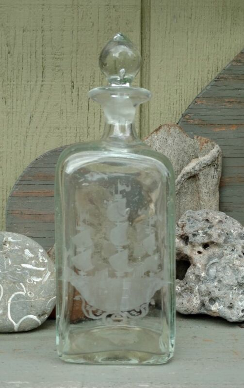 EARLY GLASS DECANTER/ BOTTLE ETCHED SHIP,  APPLIED TOP, BLOWN,  PONTIL,  BUBBLES