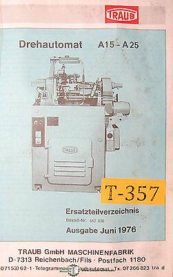 Traub A15-a25 Drehautomat Ersatzteilverzeichnis Teile Stucklisten Manual 1976