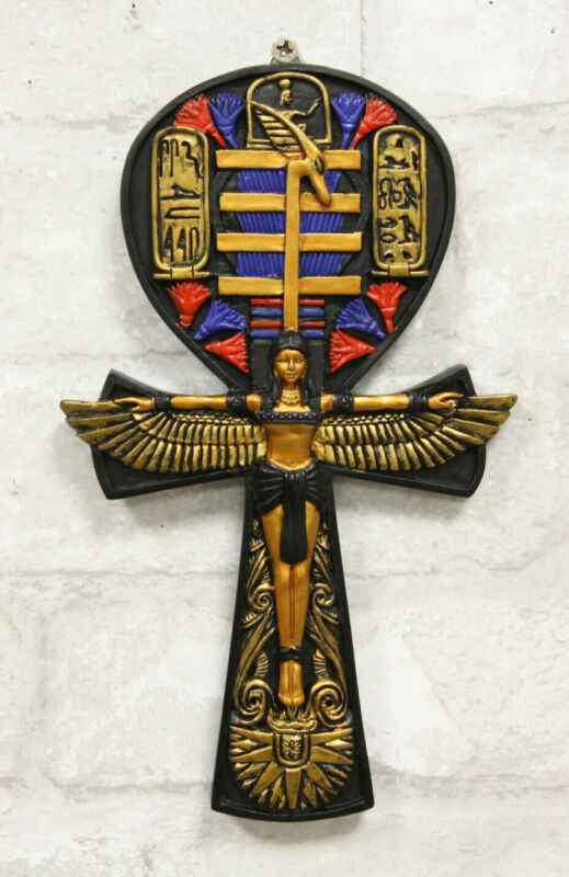 Egyptian Ankh of Isis Open Wings and Cartouche Hieroglyphs Wall Accent Decor