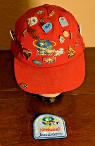 1989 NATIONAL JAMBOREE Unused Pocket Patch & Hat w/ 20 Pins-WWW-Buttons-LOOK
