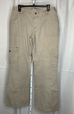 Women's Harley Davidson Khaki Cargo Riding Pants, Sz 12, 100% Cotton
