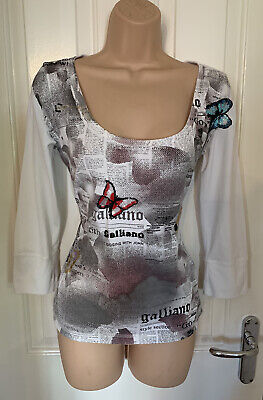 Designer JOHN GALLIANO Sequin T-Shirt Top Size 12 * L@@K * Vgc
