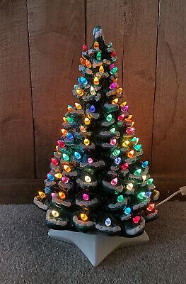 """Vintage Lighted Green Ceramic Christmas Tree Flocked Multi Colored Lights 19.5"""""""