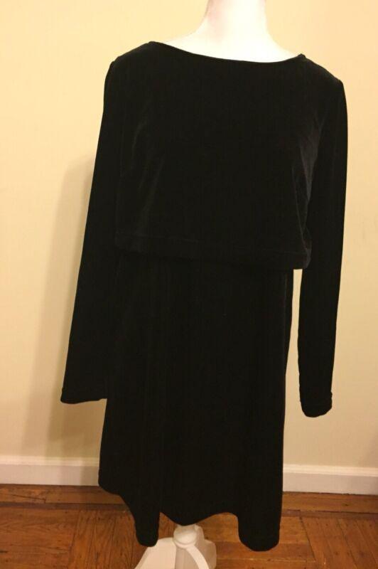 Motherhood Maternity Nursing Dress Size Small Black Velor Overlay