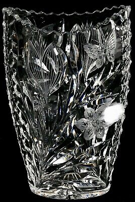 BEST RARE ANTIQUE ABP PAIRPOINT IRIS AND BUTTERFLY PATTERN HEAVY CUT GLASS VASE