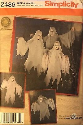 SIMPLICITY Sewing Pattern 2486 Teen, Adult Ghost Halloween Costume SZ S-M, M-L