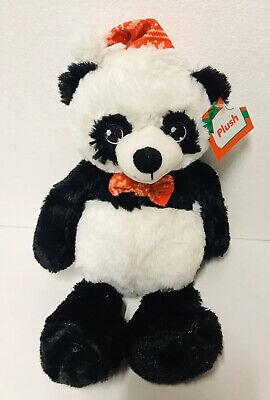 """Holiday Panda Bear Santa Hat Scarf 14"""" Plush - Panda Bear Hat"""