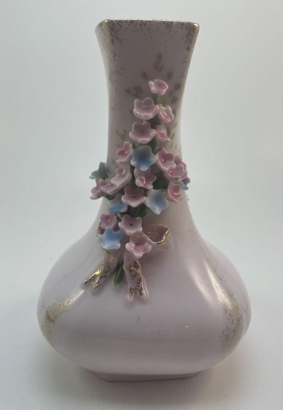 Lefton China Pink Hand Painted Vase Forget Me Not Flowers Squared Vintage Japan