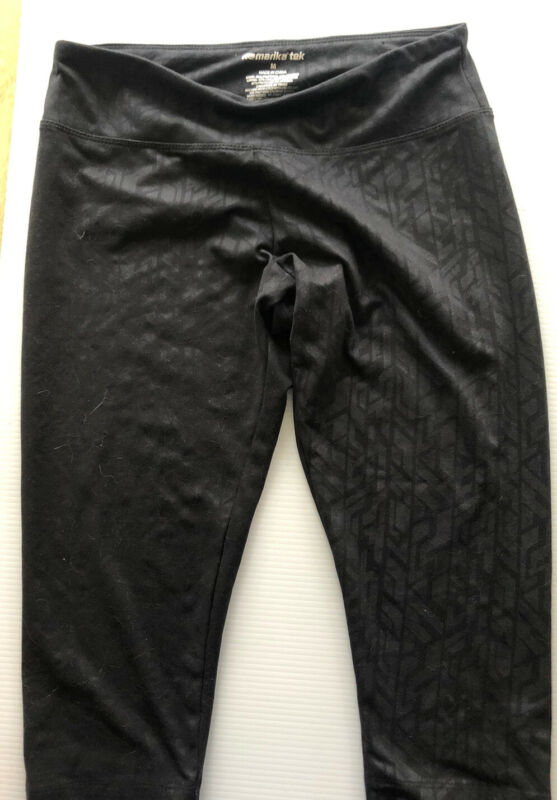Marika Tek Black Elastic Waist Cropped Stretch Leggings Workout Size Medium