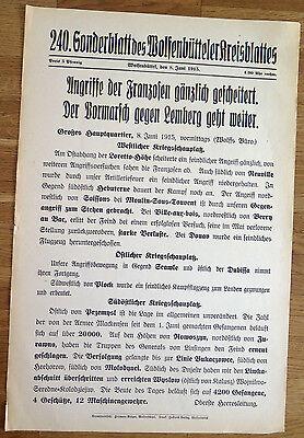 Militaria Zeitung/Plakat Wolfenbüttel 1.Weltkrieg WWI 8.6.1915 - Lemberg