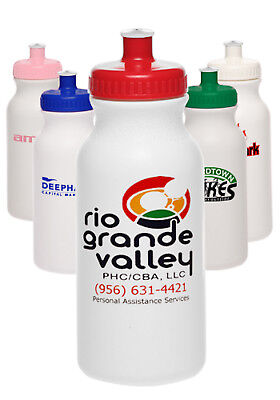 50 Custom USA Made BPA Free 20 oz. Sports Water Bottles Printed W/ Logo/Message