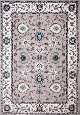 Traditional Beige-Cream Carpet Petals Scrolls Floral Vines Bordered Area -