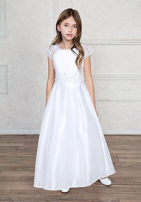 White First Communion Dresses (Flower Girls A-Line White Satin Lace First Communion Dress Gown Wedding )