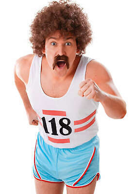 70s Running Vest & Shorts Mens Batchelor Party Fancy Dress Costume Outfit - 70s Party Outfits
