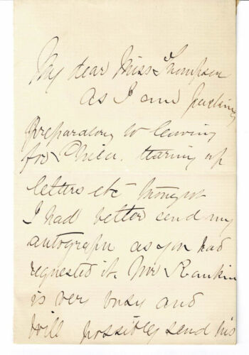 """""""KITTY"""" BLANCHARD RANKIN 1887 AUTOGRAPH LETTER by the Popular 19thC Actress"""