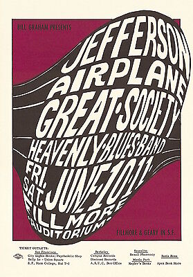 MINT Jefferson Airplane Grace Slick 1966 BG 10 Fillmore Poster