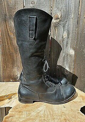 MOMA MADE ITALY CAP TOE SIDE ZIP LACE BLACK LEATHER COMBAT/MOTO BOOTS W sz 8.5